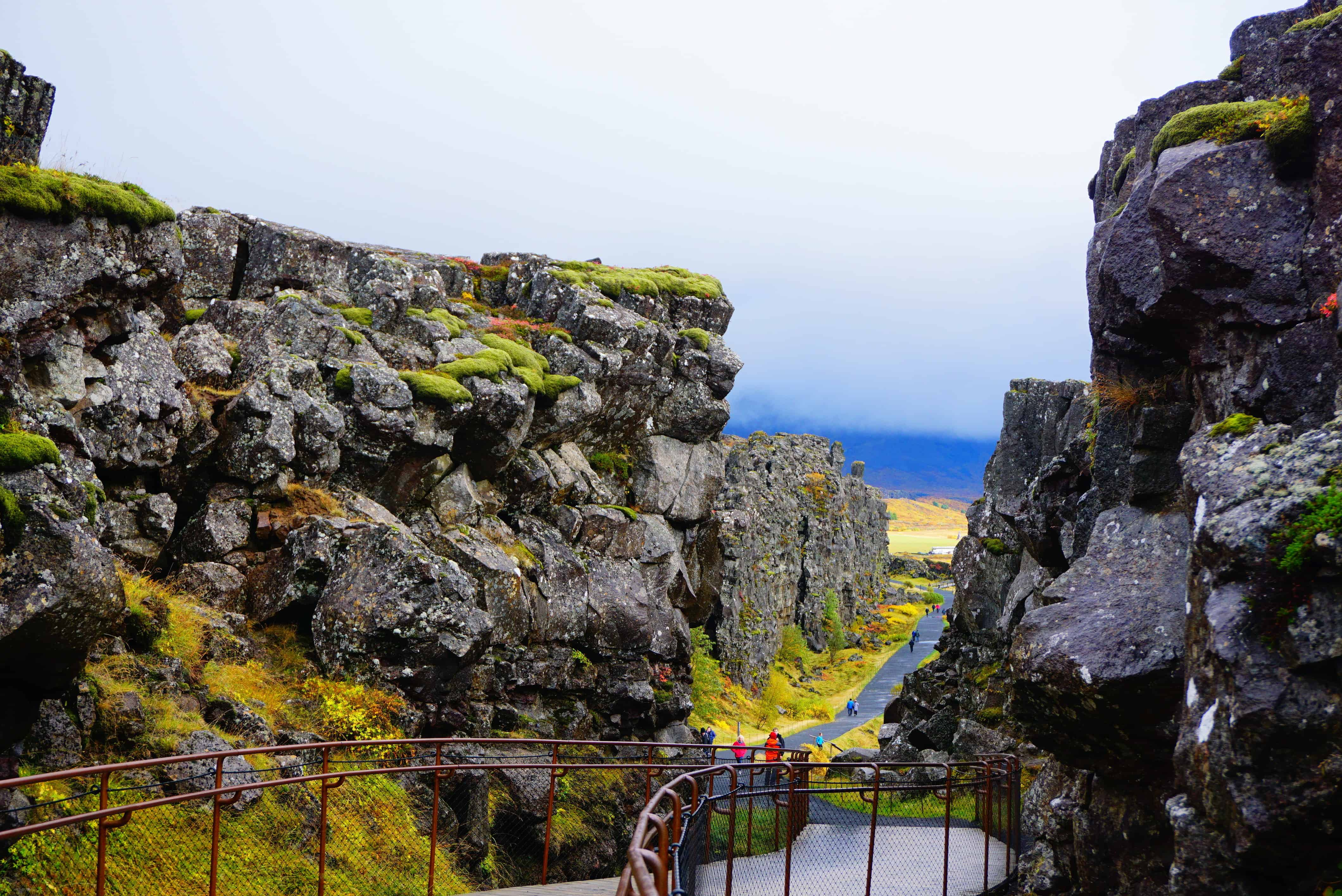 Path Through Rocky Walls In Thingvellir National Park on Iceland's Golden Circle