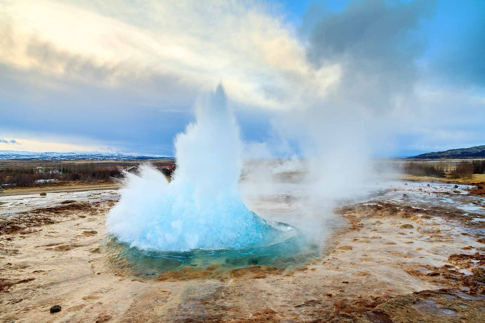 Spouting Strokkur Hot Spring Near Geysir on Iceland's Golden Circle