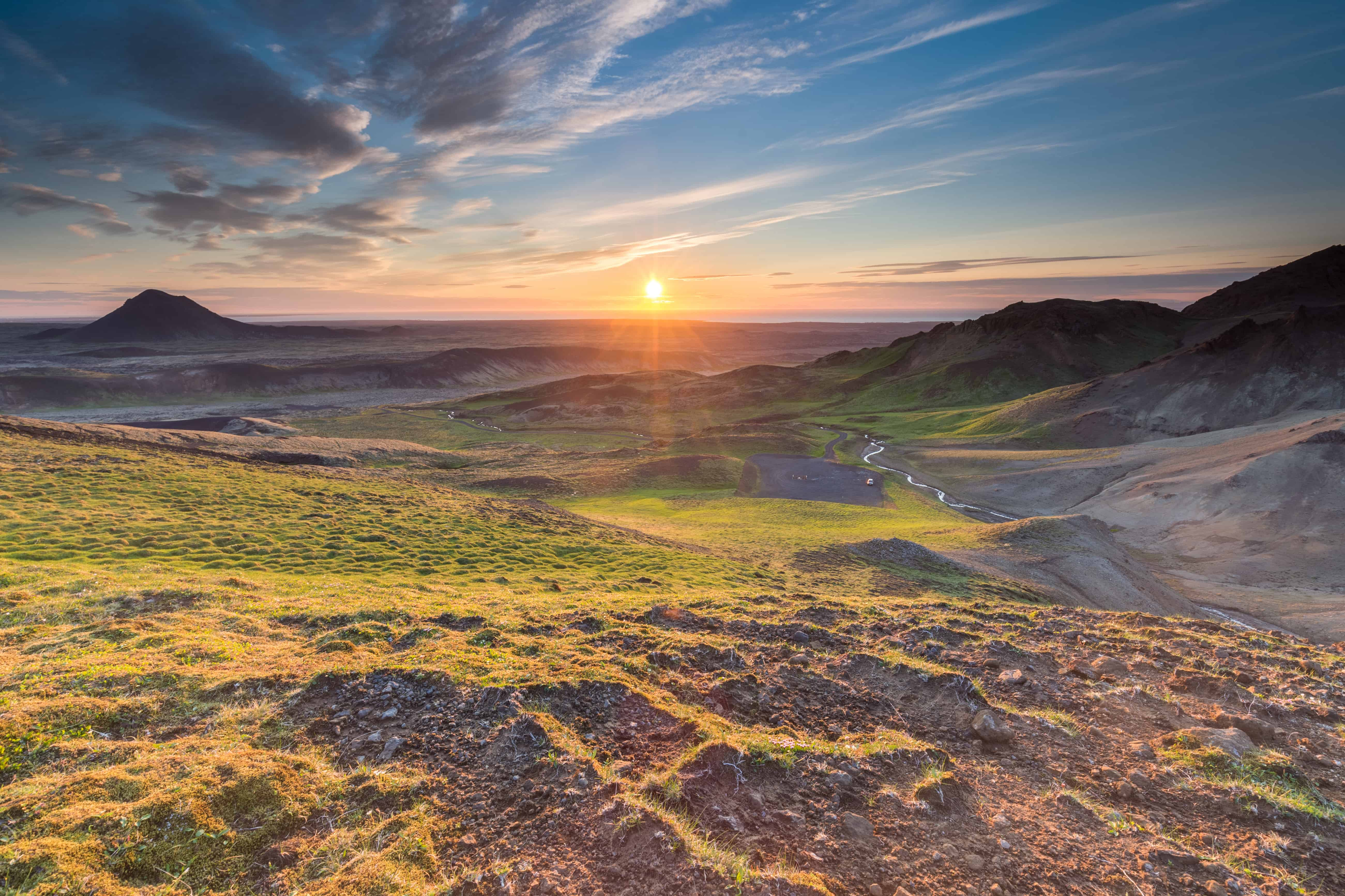 Sunset Over The Beautiful Reykjanes Peninsula With a View Of Mount Kellir South West Iceland