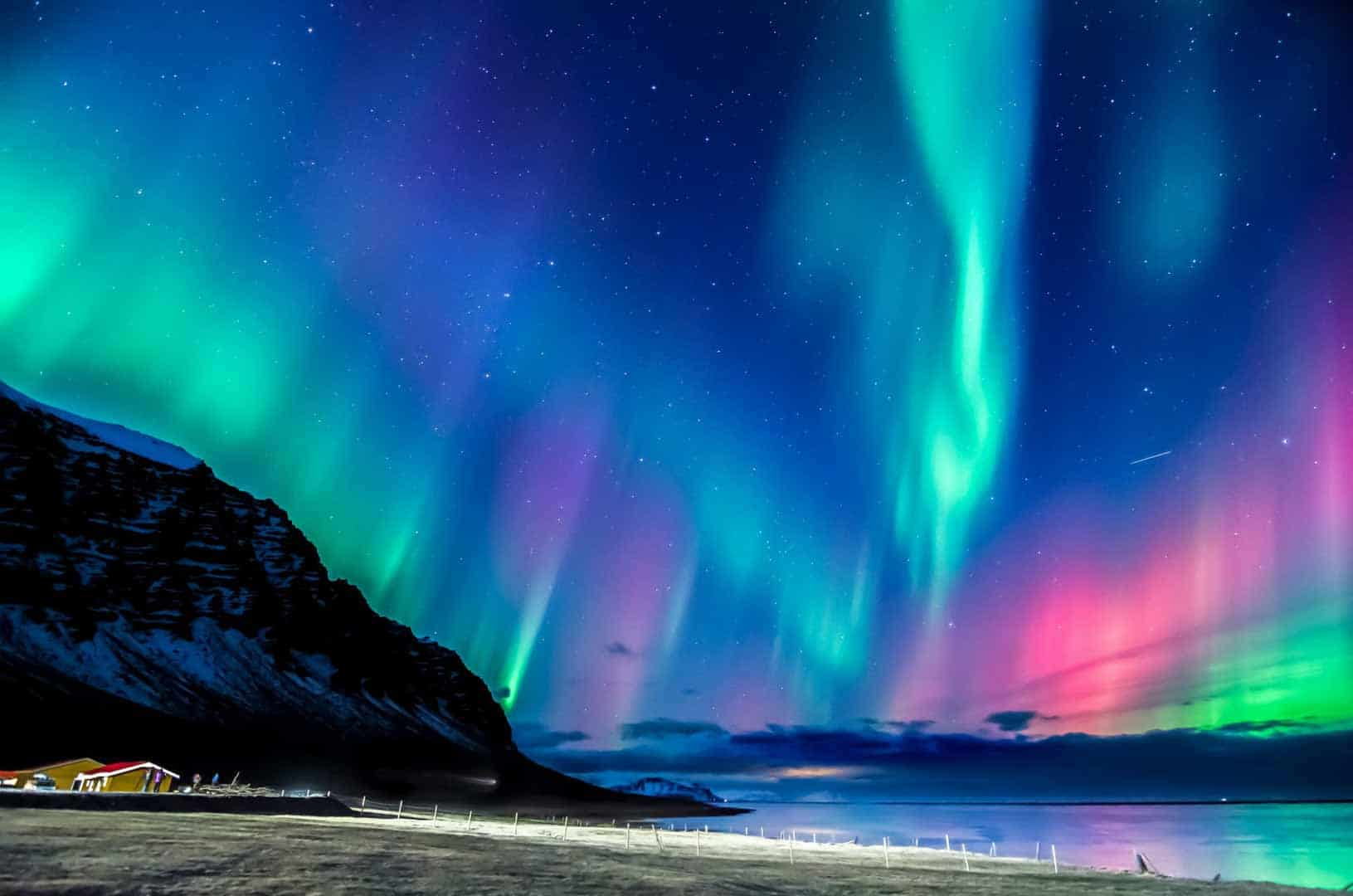 Colorful Northern Lights in the Icelandic Countryside