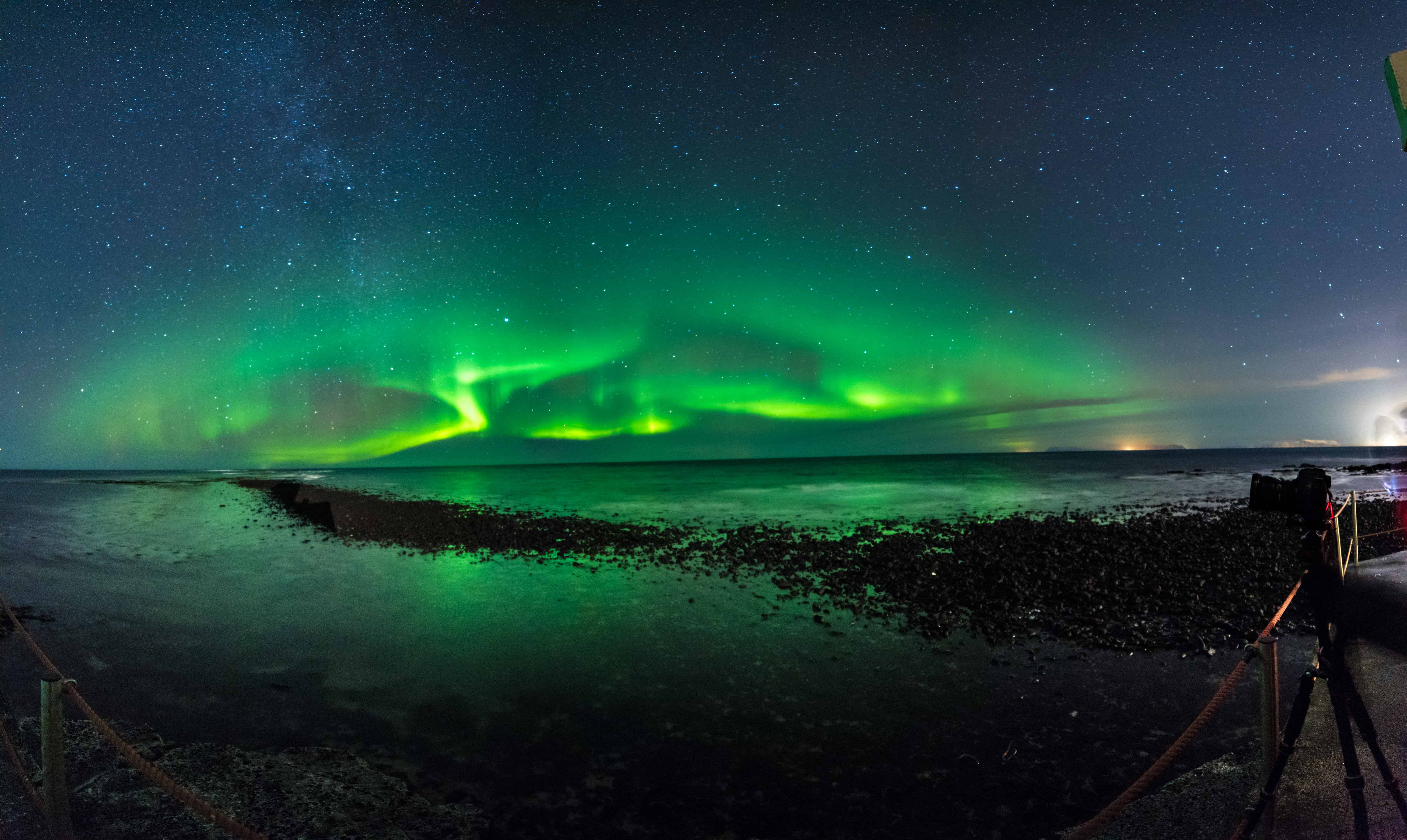 Northern Lights Show Over the Atlantic Ocean in Iceland