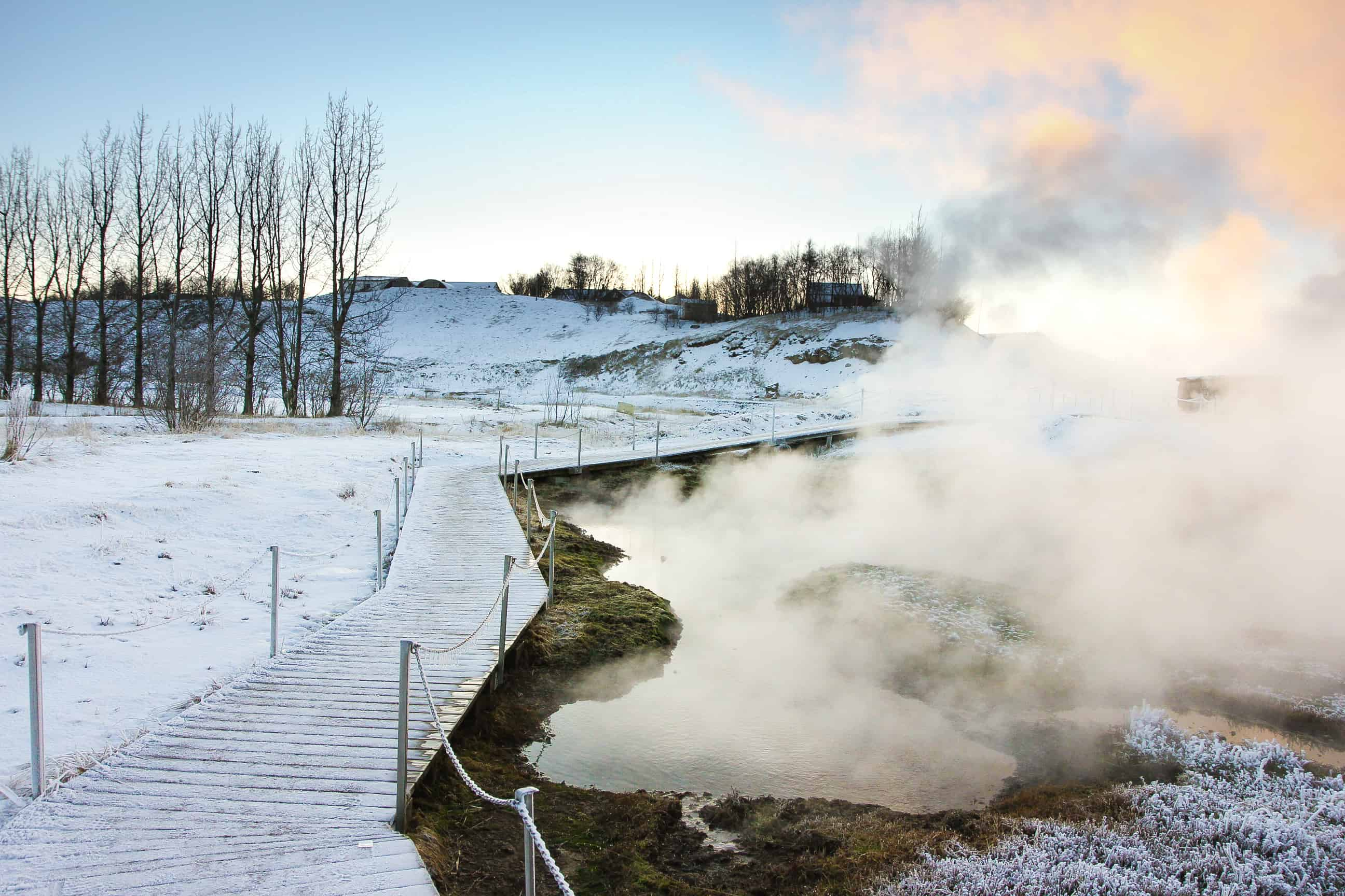 Hot Springs Beside the Secret Lagoon During Winter Fludir Iceland