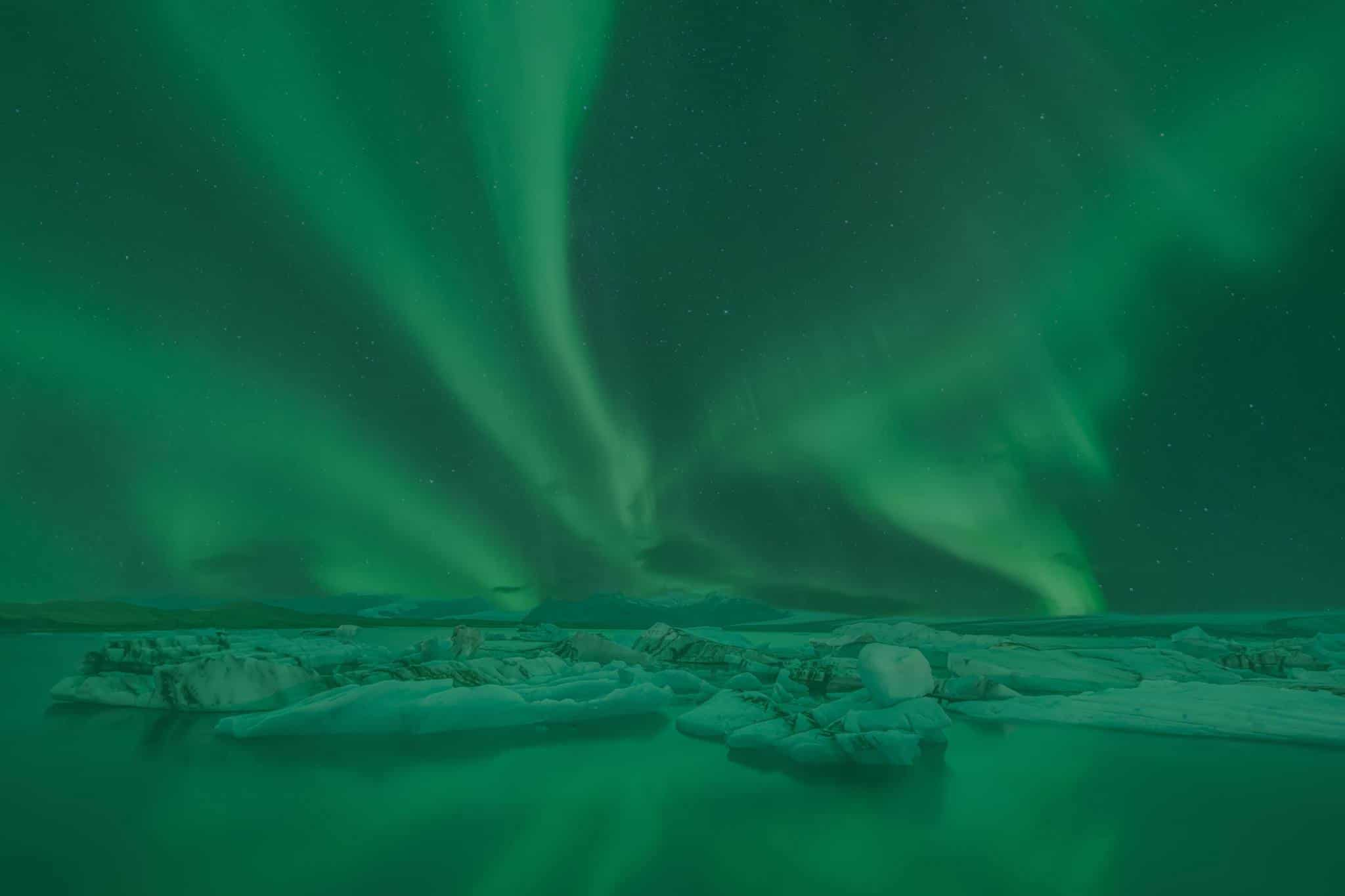 Beautiful Northern Lights Show Over the Glacier Lagoon in Iceland
