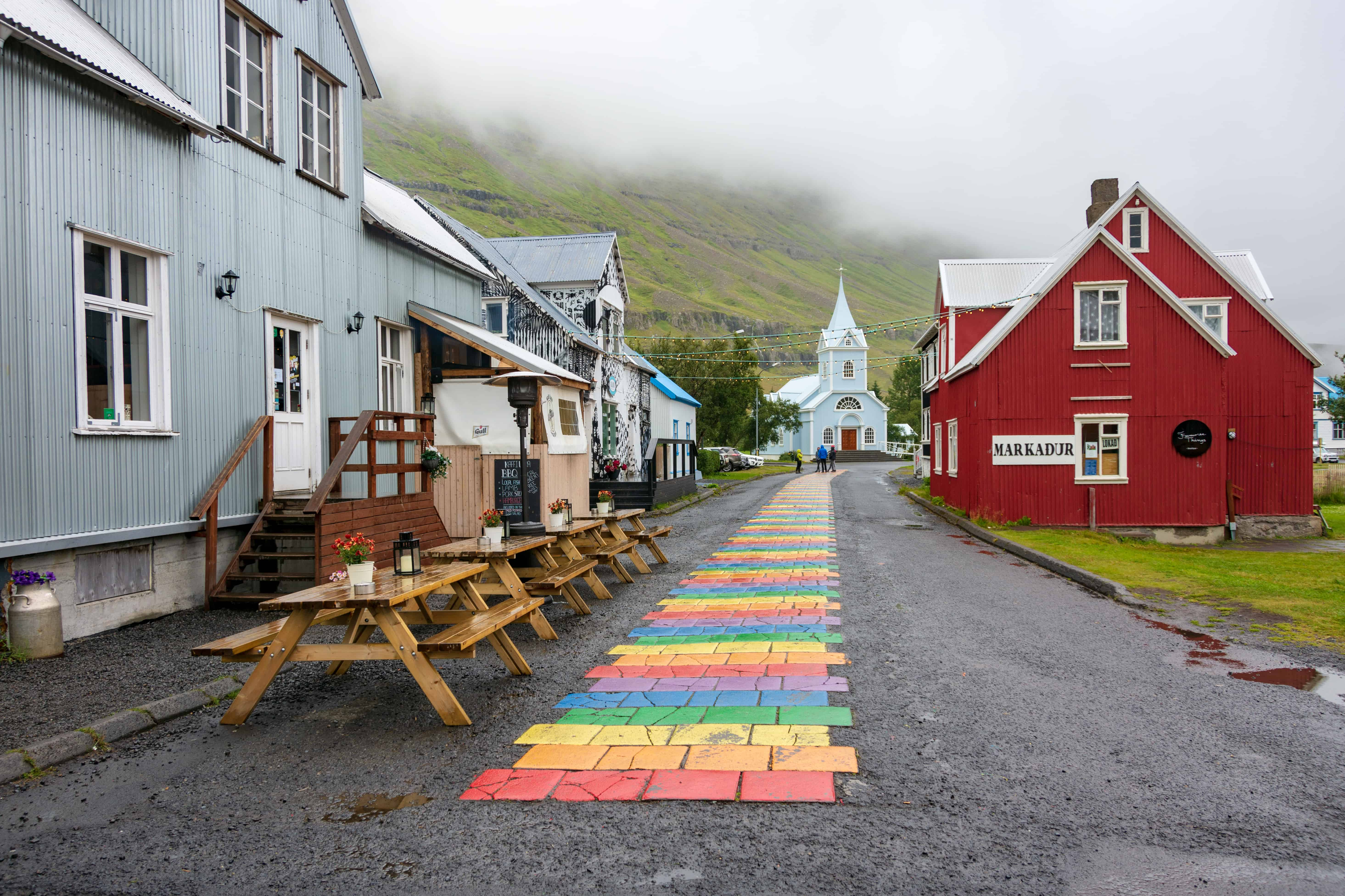 This photo shows town of Seiðisfjörður in Eastern Iceland which is one of the stops on this trip.